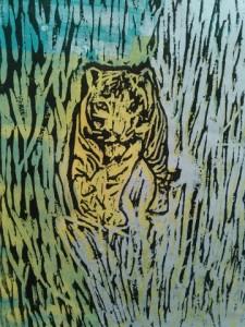竹やぶの中の虎